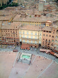 Sienna piazza from belltower. Main Piazza at Sienna, Tuscany, from the top of the belltower stock photo