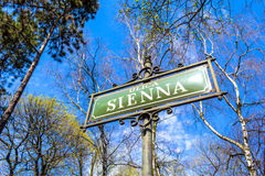 Sienna street sign, Krakow Royalty Free Stock Images