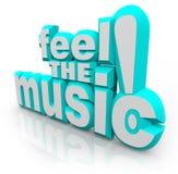 Sienta las palabras de la música 3D escuchar los sonidos de la canción bailar Imagen de archivo libre de regalías