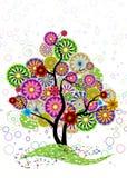 Sier boom van cirkels, bloemen en gekruld Royalty-vrije Stock Afbeelding