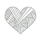 Sier de groetkaart van StValentine ` s met kleurrijke het hartschets van de zentanglekrabbel Etnisch stammen golvend vectorhart Stock Foto