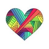 Sier de groetkaart van StValentine ` s met kleurrijke het hartschets van de zentanglekrabbel Etnisch stammen golvend vectorhart Stock Fotografie