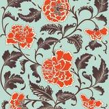 Sier gekleurd antiek bloemenpatroon Vector illustratie royalty-vrije illustratie