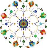 Sier rond bloemenkantpatroon stock afbeeldingen