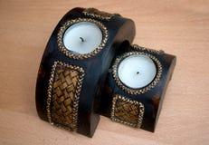 Sier witte romantische bemerkte kaarsen Royalty-vrije Stock Fotografie