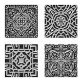 Sier zilveren en zwarte het betegelen texturen Stock Foto