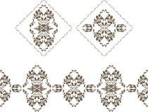 Sierdieelementen en grens voor decor op het wit worden geïsoleerd Royalty-vrije Stock Foto's