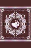 Sierelement met hart en orchidee De kaart van de groet Royalty-vrije Stock Afbeeldingen
