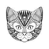 Sierhoofd van kat, in etnisch zentangleontwerp, getrokken hand, royalty-vrije illustratie