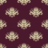 Sierlijk bloemen purper en beige naadloos patroon Royalty-vrije Stock Afbeelding