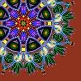 Siermalplaatje met cirkel bloemenachtergrond Stock Afbeeldingen