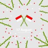 17 Sierpień Indonezja dnia niepodległości tło Zaznacza wektorową ilustrację Zdjęcie Stock