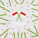 17 Sierpień Indonezja dnia niepodległości tło Zaznacza wektorową ilustrację Obrazy Stock