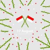 17 Sierpień Indonezja dnia niepodległości tło Zaznacza wektorową ilustrację Fotografia Stock