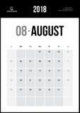 Sierpień 2018 Minimalistyczny Ścienny kalendarz Zdjęcia Stock