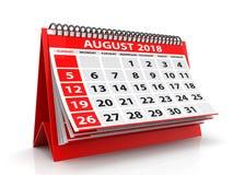 2018 Sierpień spirali kalendarz odizolowywający w białym tle 3 d czynią Obraz Royalty Free