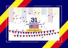 31 Sierpień - Wektorowego ilustracyjnego Malezja dnia niepodległości Patriotyczny projekt Szczęśliwy dnia niepodległości wektoru  ilustracji