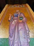 Sierpie? 2018 - Cypr: Osza?amiaj?co religijna mozaiki grafika w?rodku Greckokatolickiego Kykkos monasteru ?wi?ta dziewica w Trood obrazy stock