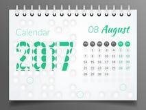 Sierpień 2017 Kalendarz 2017 Zdjęcia Stock