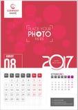 Sierpień 2017 Kalendarz 2017 Obrazy Stock