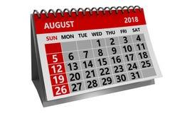 Sierpień 2018 kalendarz Zdjęcie Royalty Free