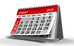Sierpień 2018 kalendarz Zdjęcie Stock