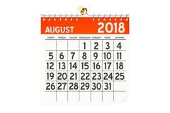 Sierpień 2018 kalendarz, 3D rendering Obraz Stock