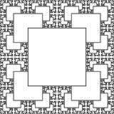 Sierpinski carpet patterns in fractal style, monochrome background in line design vector illustration