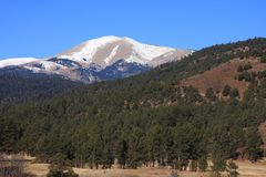 Sierra Blanca. Picture Postcard View of Sierra Blanca Peak in New Mexico with an elavation of nearly 12,000 feet Stock Photos