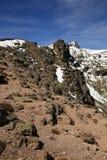 Sierra de Bejar mountain range. Scenic view of snow capped Sierra de Bejar mountain range with blue sky background, Spain Royalty Free Stock Photo