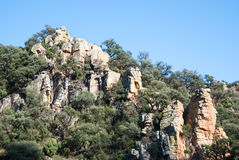 Sierra de Espada. Mediterranean mountain landscapes on the range of Espada in Castellon de la Plana, Valencia, Spain Royalty Free Stock Photo