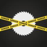 Sierra de la circular de la arpa de la cinta del peligro del ejemplo del vector Imagen de archivo