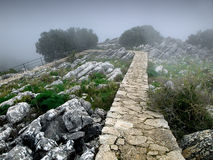 Sierra de las Nieves. Misty morning in the mountains of Malaga Royalty Free Stock Photos