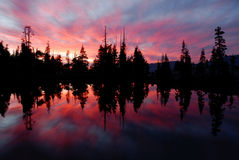 Sierra Lake and Sunset Reflection II Stock Photos