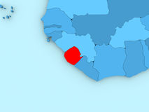 Sierra Leone on 3D map Stock Image