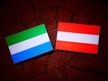 Sierra Leone flag with Austrian flag on a tree stump  Royalty Free Stock Photos