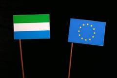Sierra Leone flag with European Union EU flag  on black Stock Image