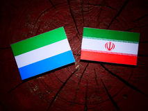 Sierra Leone flag with Iranian flag on a tree stump isolated Royalty Free Stock Images