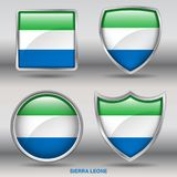 Sierra Leone Flag in 4 shapes collection with clipping path Stock Image