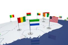 Sierra Leone flag. Country flag with chrome flagpole on the world map with neighbors countries borders. 3d illustration rendering flag Stock Images