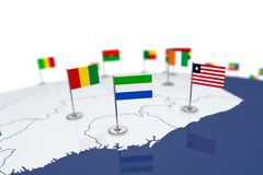 Sierra Leone flag. Country flag with chrome flagpole on the world map with neighbors countries borders. 3d illustration rendering flag stock illustration
