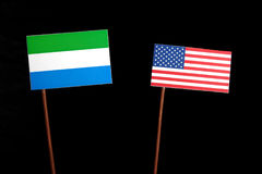 Sierra Leone flag with USA flag  on black Royalty Free Stock Images