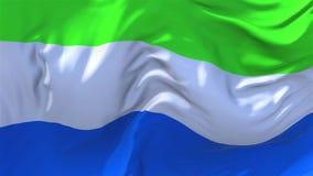 108 Sierra Leone Flag Waving en fondo inconsútil continuo del lazo del viento ilustración del vector