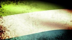 Sierra Leone Flag Waving, grunge look stock footage