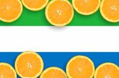 Sierra Leone flagga i citrusfruktskivahorisontalram royaltyfri bild