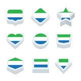 Sierra leone flags icons and button set nine styles Stock Image