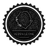 Sierra Leone Map Label con la retro annata disegnata royalty illustrazione gratis