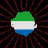 Sierra Leone mapy flaga na czerwonej hex kodu wybuchu ilustraci royalty ilustracja