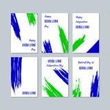 Sierra Leone Patriotic Cards para el día nacional stock de ilustración