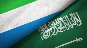 Sierra Leone- und Arabien-Flaggentextilstoff lizenzfreie stockbilder